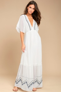Adelyn Rae Chandra White Embroidered Maxi Dress