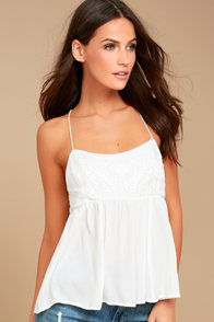 Absolute Adoration White Embroidered Top