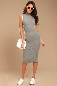 Billabong So Soon Grey Ribbed Bodycon Midi Dress