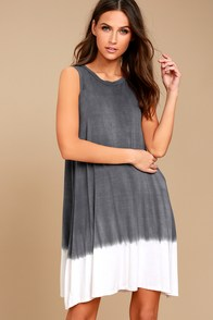 PPLA Davi Slate Blue Dip-Dye Shift Dress