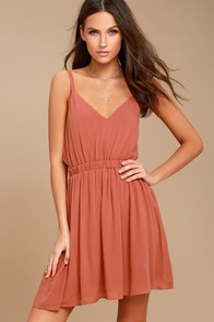 Here's to the Good Times Rusty Rose Skater Dress