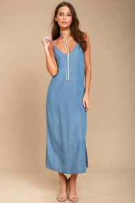 Let the Sunshine In Blue Chambray Midi Dress