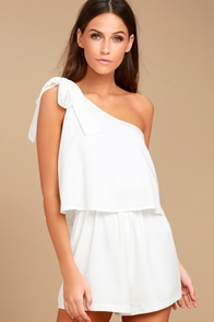 Destined for Chicness White One-Shoulder Romper