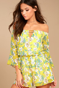 Stay Sweet Yellow Floral Print Off-the-Shoulder Romper