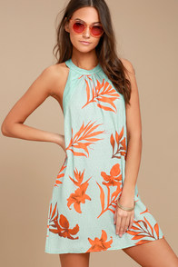 Capri Seas Mint Green Tropical Print Dress