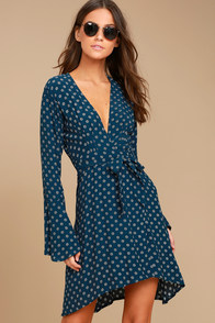 Faithfull the Brand Goldstein Teal Blue Print Wrap Dress