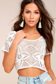 Billabong Sun Catcher Cream Crochet Lace Crop Top