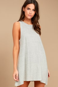 Billabong By and By Cream Striped Swing Dress