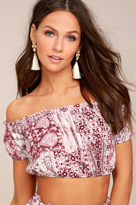 Attention to Detail Burgundy Print Off-the-Shoulder Crop Top