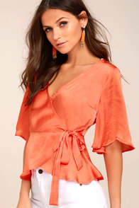 Heart to Heart Coral Orange Satin Wrap Top