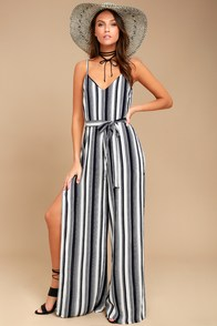 To the Beach and Back Blue and White Striped Jumpsuit