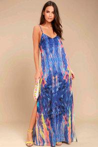 Flying Watercolors Royal Blue Print Maxi Dress