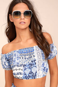Attention to Detail Blue Print Off-the-Shoulder Crop Top