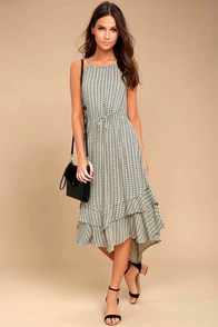 O'Neill Adia Black and Cream Print Midi Dress