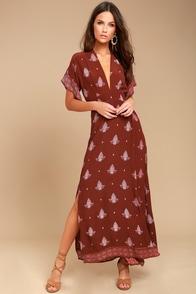 Faithfull the Brand Tuula Rust Red Print Maxi Dress