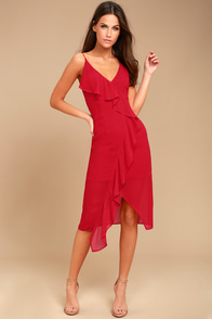 Keepsake Aster Red Midi Dress