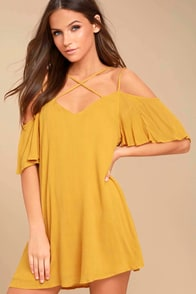Afterglow Yellow Shift Dress