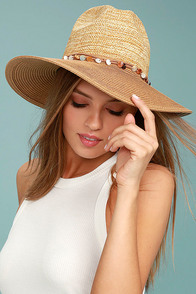 Shellebration Tan Straw Fedora Hat