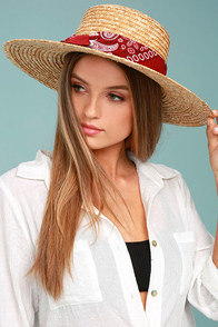Paisley Baby Tan Straw Hat