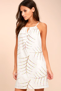 Tropical Fiesta White Embroidered Shift Dress