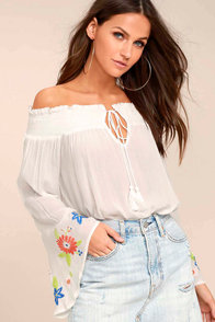 Romantic Haven White Embroidered Off-the-Shoulder Top