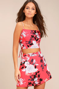 By Golly Coral Pink Floral Print Lace-Up Crop Top