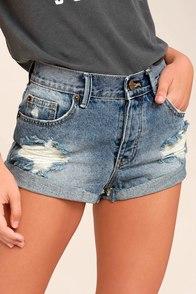 Amuse Society Crossroads Blue Distressed Denim Shorts