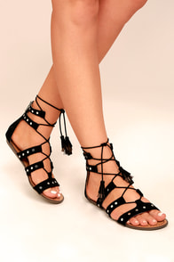 Report Laurel Black Suede Gladiator Sandals