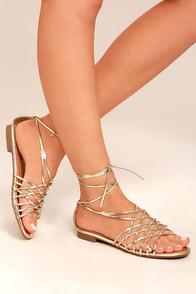 Nisse Gold Lace-Up Sandals