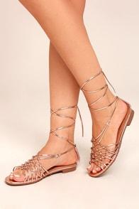 Nisse Rose Gold Lace-Up Sandals