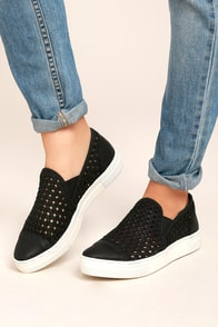 Seychelles Latest Black Leather Slip-On Sneakers
