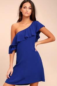 ASTR the Label Marisol Royal Blue Off-the-Shoulder Dress