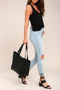 Style Script Black Tote Bag