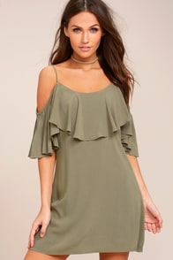 Sweet Treat Olive Green Off-the-Shoulder Dress