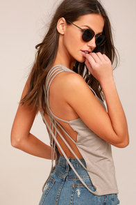 Back At It Taupe Backless Tank Top