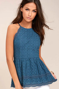 Be True Denim Blue Lace Peplum Top