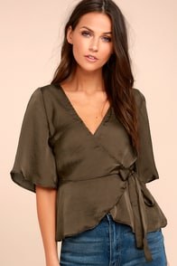 Heart to Heart Olive Green Satin Wrap Top