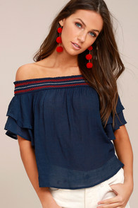 Que Sera Navy Blue Embroidered Off-the-Shoulder Top