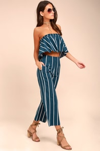 Faithfull the Brand Tomas Navy Blue Striped Culottes