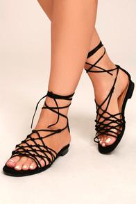 Nisse Black Suede Lace-Up Sandals