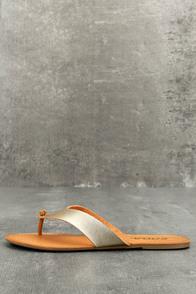 Athena Light Gold Thong Sandals