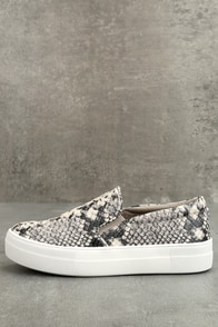 Steve Madden Gills Natural Snake Slip-On Sneakers
