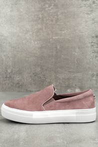 Steve Madden Gills Mauve Suede Leather Slip-On Sneakers