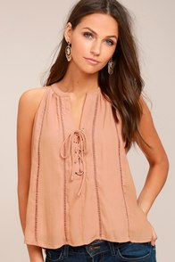 Love It Up Nude Lace-Up Top