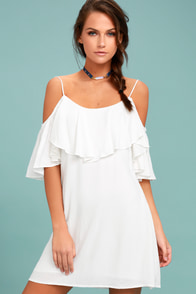 Sweet Treat White Off-the-Shoulder Dress
