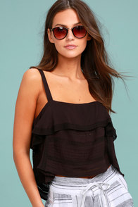 Amuse Society Hayes Washed Black Lace Crop Top