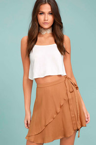 On the Sway Light Brown Wrap Skirt