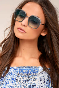 Clementine Silver and Blue Sunglasses