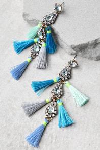 Crystal Memories Blue Rhinestone Tassel Earrings