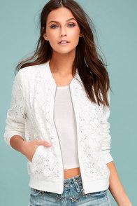 La Femme White Lace Bomber Jacket